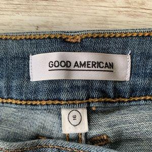 Good American Skirts - Good American High Rise Pleated Front Denim Skirt